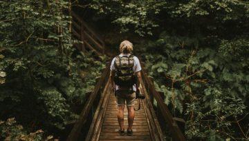 Back-Figure-of-Backpacker-on-Wooden-Bridge